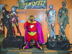 Bull-Itt poses between the Herofest statues on display