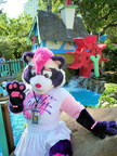 Candy Coon in front of the water wheel