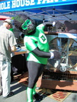 Green Lantern takes full advantage of the fan display at the Whole House Fan Company booth; it's a HOT day!!