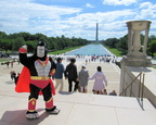 Ultra-Gor at the top of the steps and the Washington Monument behind!