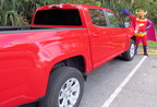 "Transportation for the Supercritters in Florida provided by this Chevrolet ""Colorado"", in ""Bull-Itt Red""!"